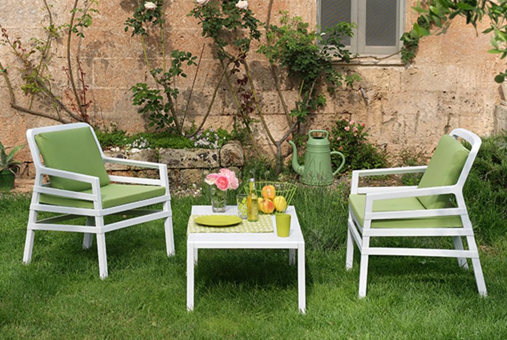 Poltrona Aria Bianco + Cuscini Lime